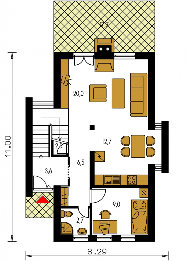 Pôdorys Prízemia - Poschodový dom na úzky pozemok so sedlovou strechou.