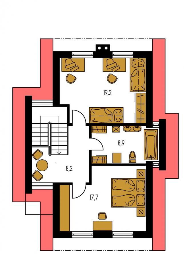 Pôdorys Poschodia - Poschodový dom na úzky pozemok so sedlovou strechou.