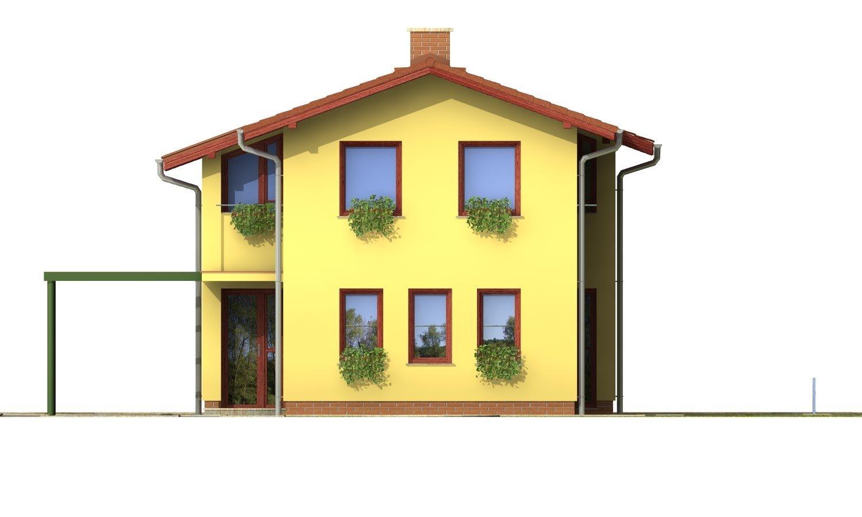 Pohľad 1. - Poschodový dom na úzky pozemok so sedlovou strechou.