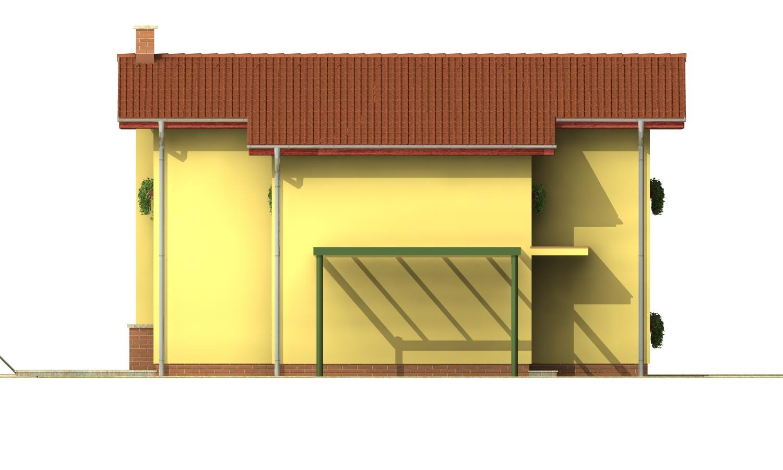Pohľad 2. - Poschodový dom na úzky pozemok so sedlovou strechou.