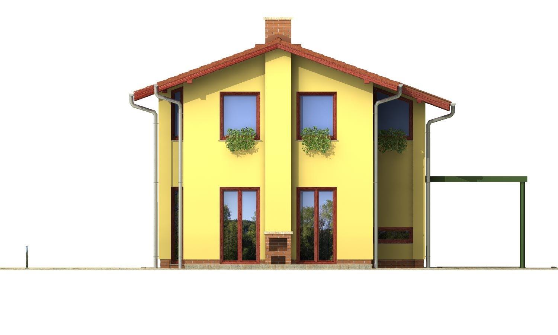 Pohľad 3. - Poschodový dom na úzky pozemok so sedlovou strechou.