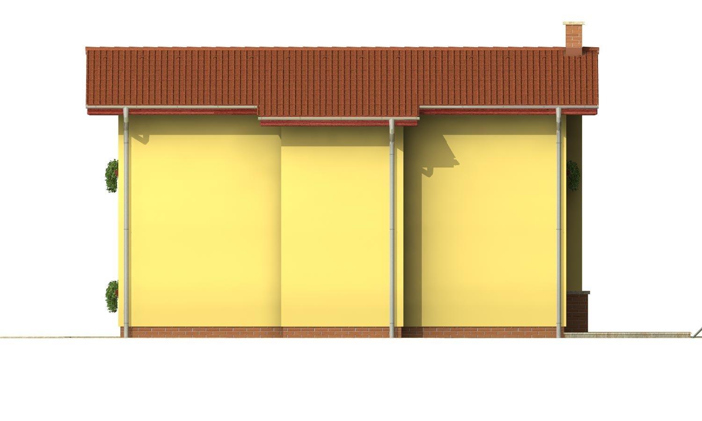 Pohľad 4. - Poschodový dom na úzky pozemok so sedlovou strechou.