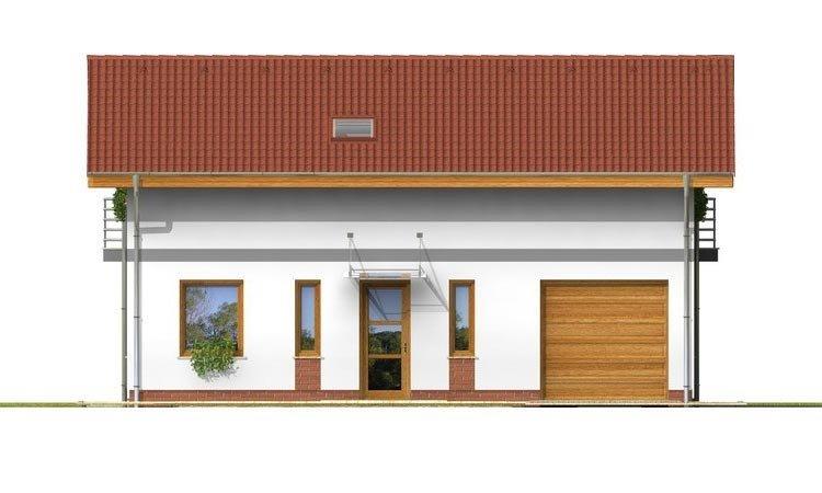 Pohľad 1. - Poschodový dom s garážou a terasou.