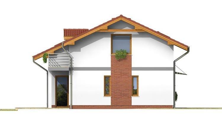 Pohľad 2. - Poschodový dom s garážou a terasou.