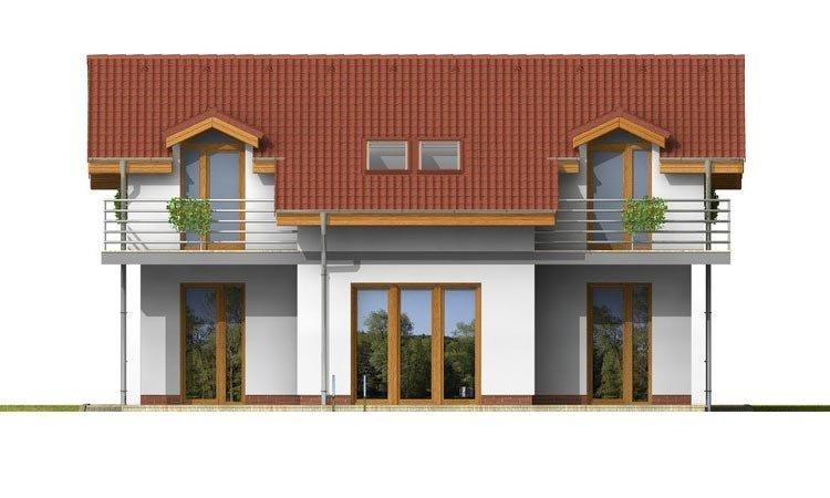 Pohľad 3. - Poschodový dom s garážou a terasou.