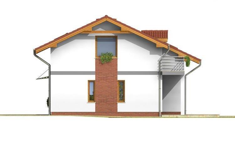 Pohľad 4. - Poschodový dom s garážou a terasou.