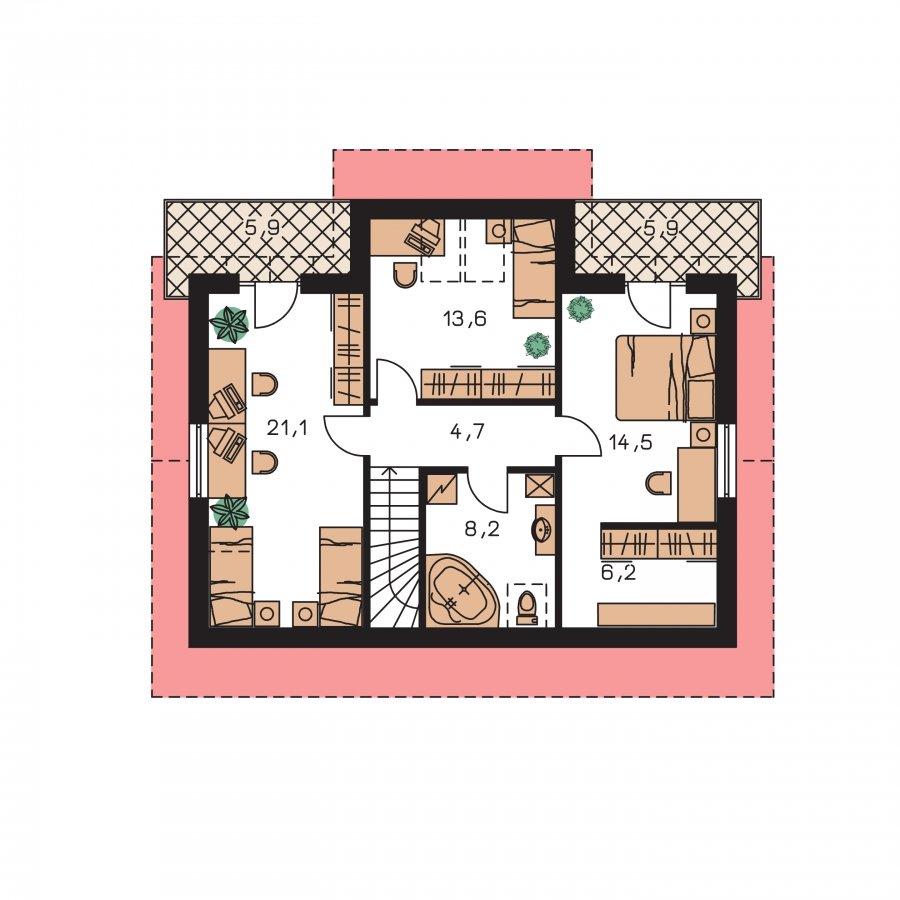 Pôdorys Poschodia - Poschodový dom s garážou a terasou