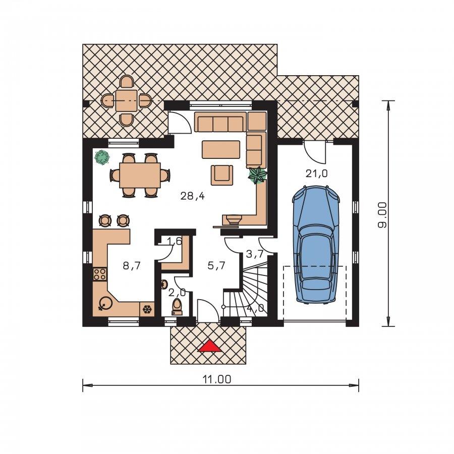 Pôdorys Prízemia - Poschodový dom s garážou a terasou