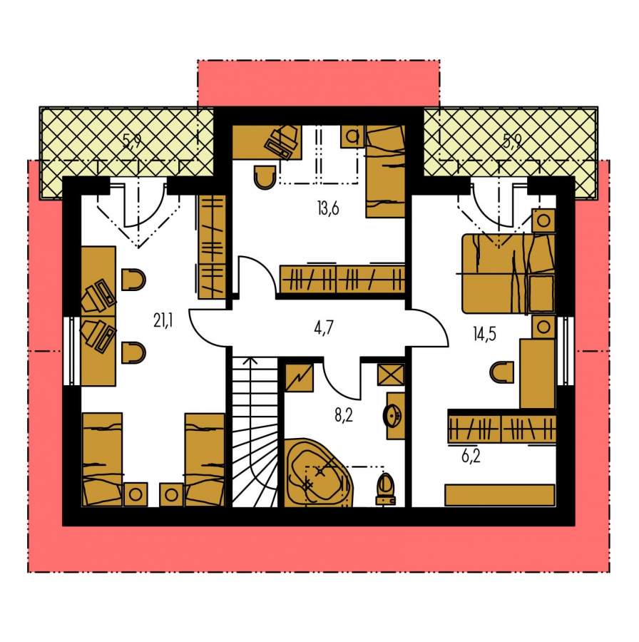 Pôdorys Poschodia - Poschodový dom s garážou a terasou.