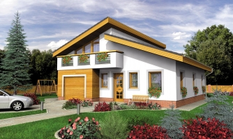 Obľúbený projekt domu s garážou, z časti podkrovný.