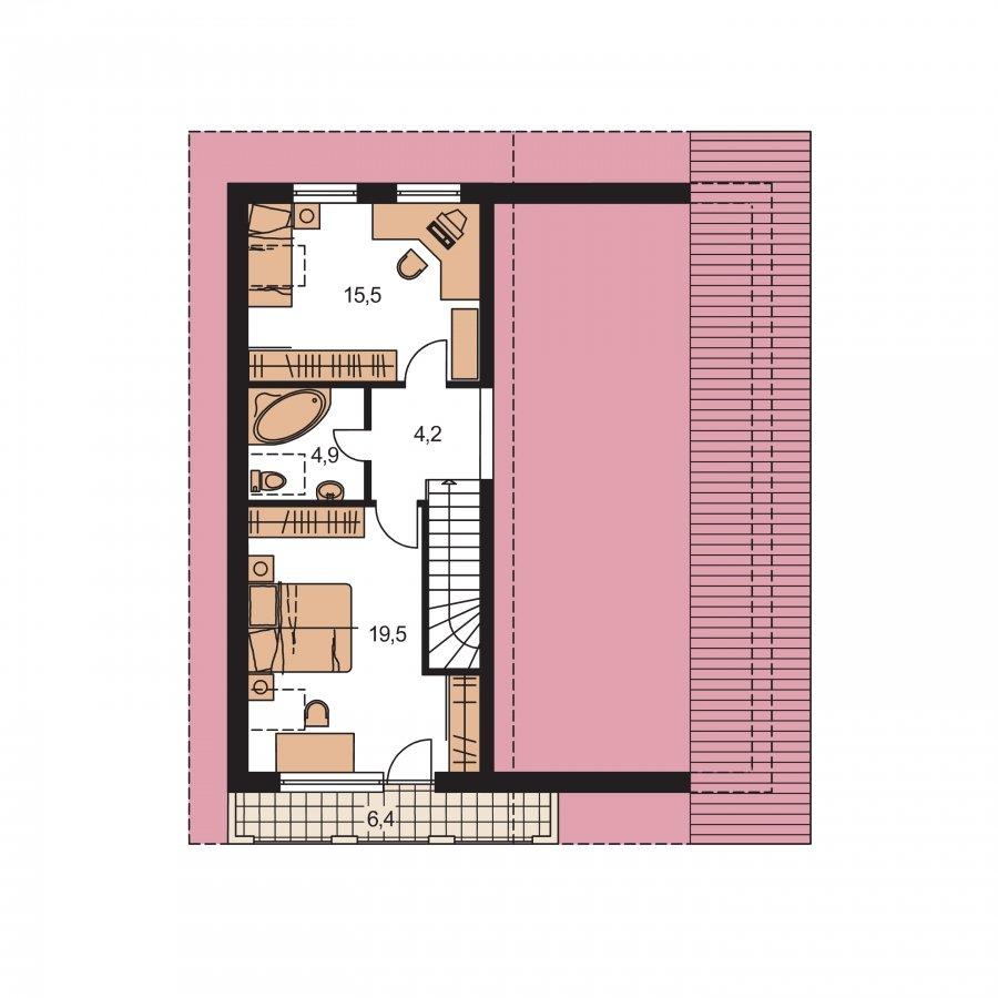 Pôdorys Poschodia - Obľúbený projekt domu s gogážou, z časti podkrovný