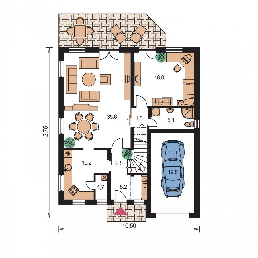 Pôdorys Prízemia - Obľúbený projekt domu s gogážou, z časti podkrovný