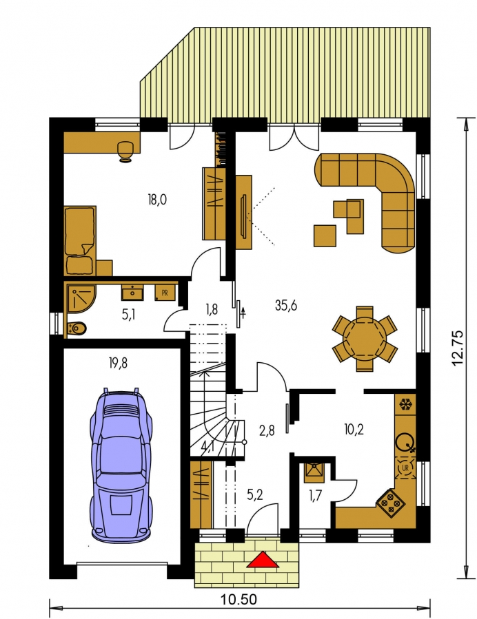 Pôdorys Prízemia - Obľúbený projekt domu s garážou, z časti podkrovný.