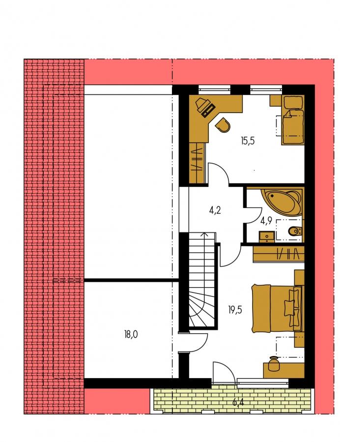 Pôdorys Poschodia - Obľúbený projekt domu s garážou, z časti podkrovný.