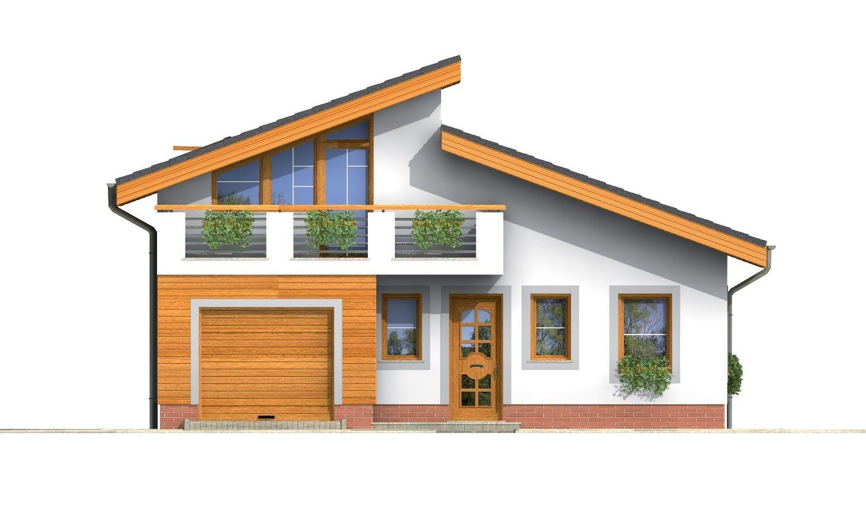 Pohľad 1. - Obľúbený projekt domu s garážou, z časti podkrovný.