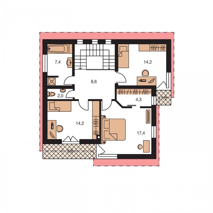 Pôdorys Poschodia - Moderný poschodový dom s pultovými s(trechami a veľkorysím schodiskom
