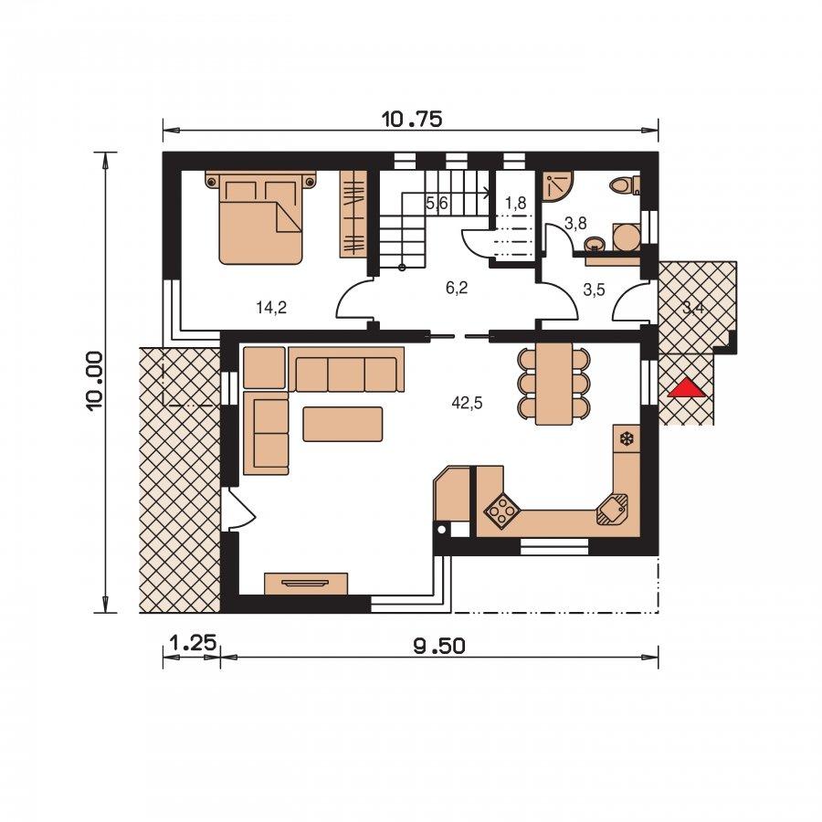 Pôdorys Prízemia - Moderný poschodový dom s pultovými s(trechami a veľkorysím schodiskom