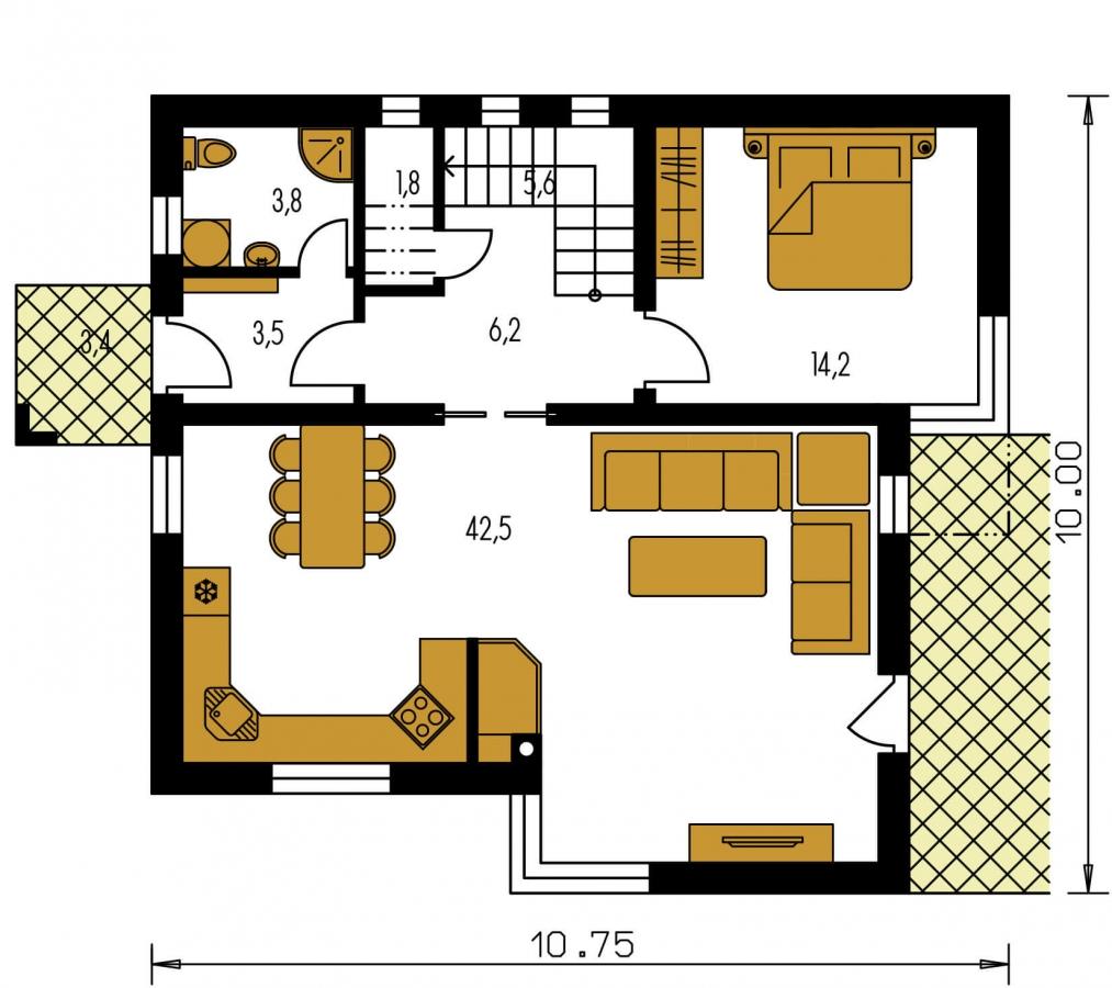Pôdorys Prízemia - Moderný poschodový dom s pultovými strechami a izbou na prízemí.