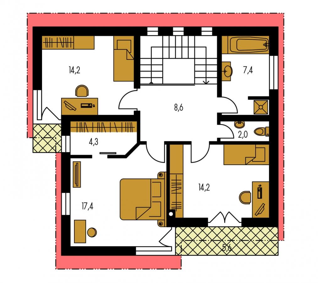 Pôdorys Poschodia - Moderný poschodový dom s pultovými strechami a izbou na prízemí.