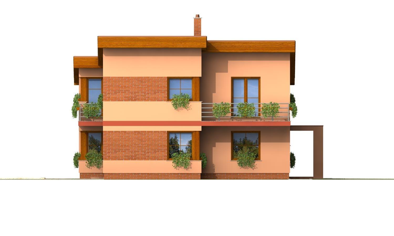 Pohľad 1. - Moderný poschodový dom s pultovými strechami a izbou na prízemí.