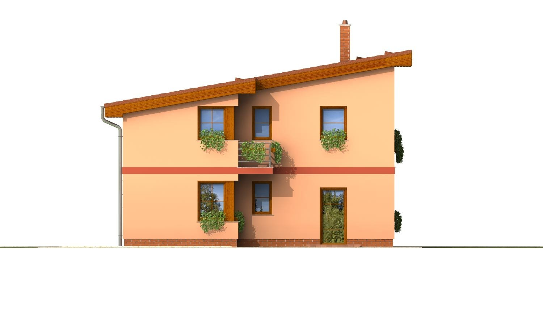 Pohľad 2. - Moderný poschodový dom s pultovými strechami a izbou na prízemí.