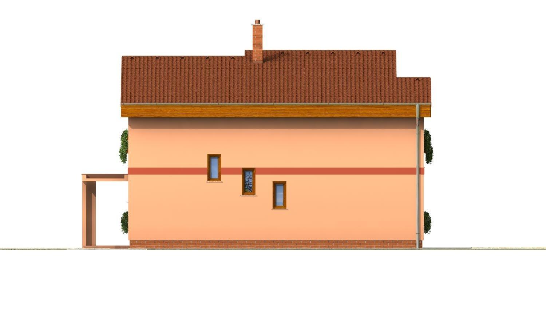 Pohľad 3. - Moderný poschodový dom s pultovými strechami a izbou na prízemí.