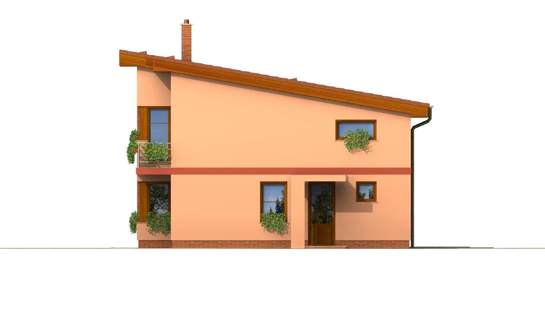 Pohľad 4. - Moderný poschodový dom s pultovými strechami a izbou na prízemí.