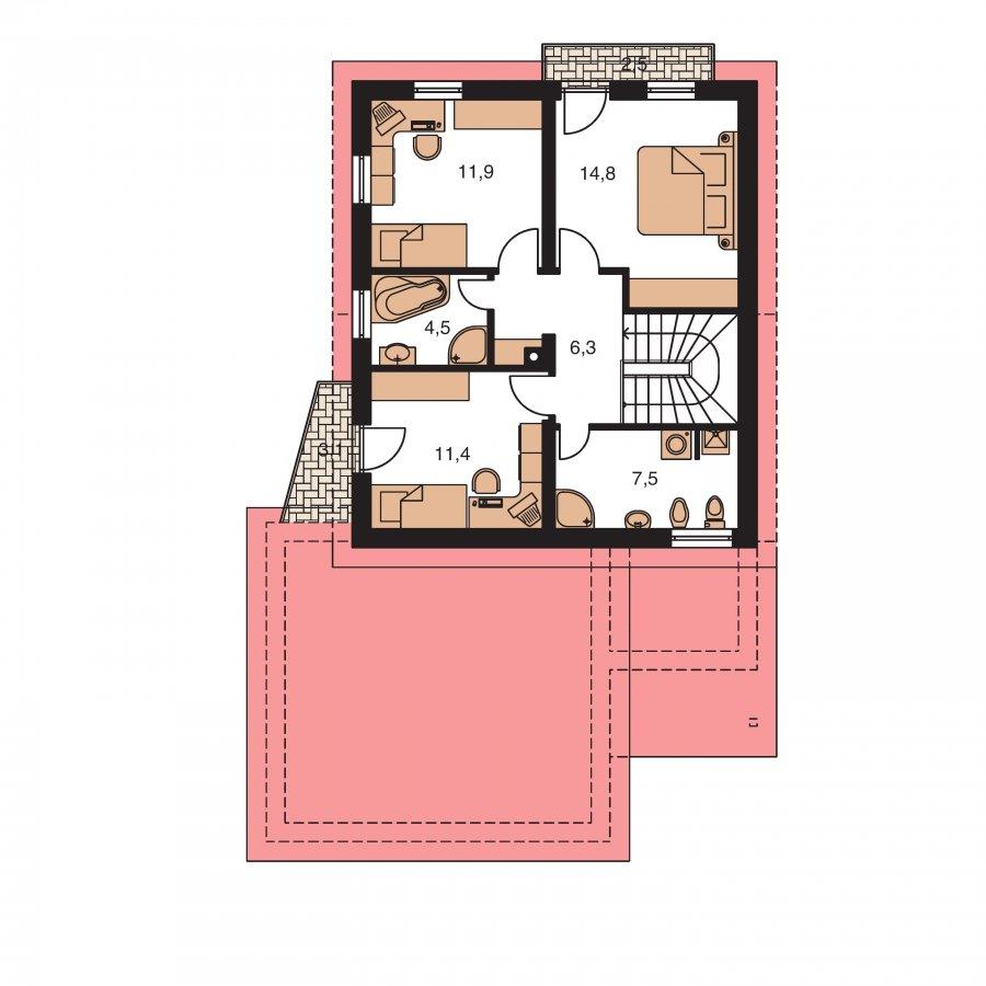 Pôdorys Poschodia - Podkrovný dom sosedlovými strechami nad dvojgarážou