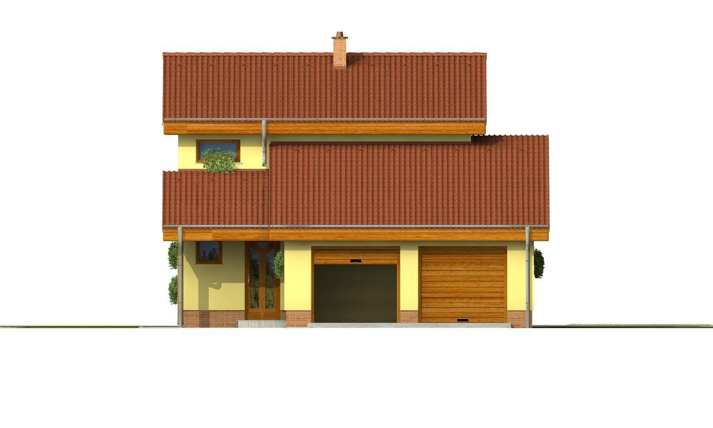 Pohľad 1. - Podkrovný dom sosedlovými strechami nad dvojgarážou