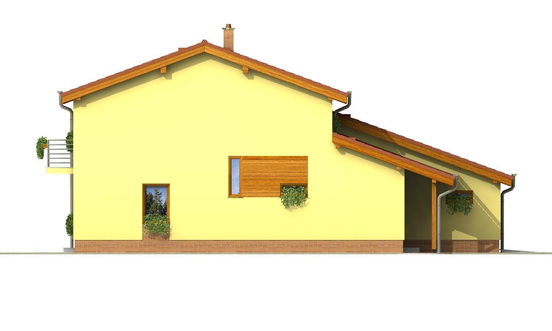 Pohľad 2. - Podkrovný dom sosedlovými strechami nad dvojgarážou
