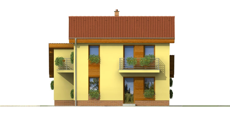 Pohľad 3. - Podkrovný dom sosedlovými strechami nad dvojgarážou
