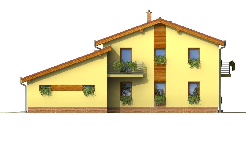 Pohľad 4. - Podkrovný dom sosedlovými strechami nad dvojgarážou