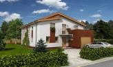 Väčší dom s garážou a pultovými strechami