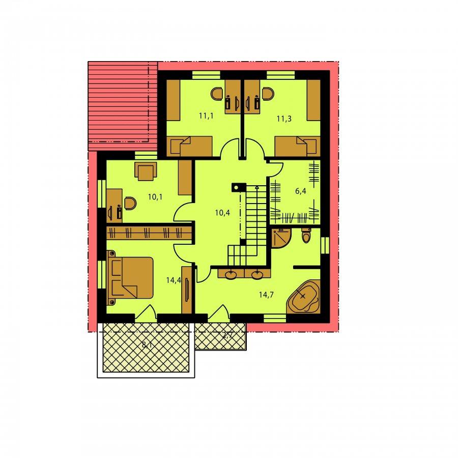 Pôdorys Poschodia - Väčší dom s garážou a pultovými strechami