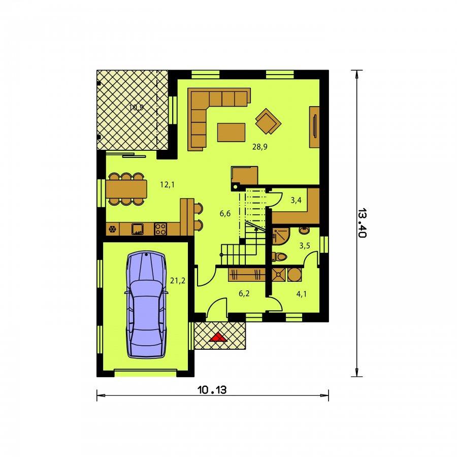 Pôdorys Prízemia - Väčší dom s garážou a pultovými strechami