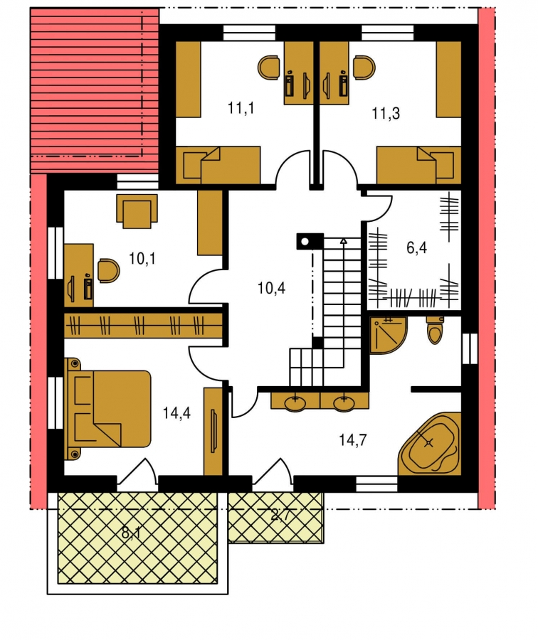 Pôdorys Poschodia - Dom s garážou a pultovými strechami.