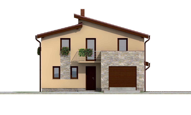 Pohľad 1. - Dom s garážou a pultovými strechami.