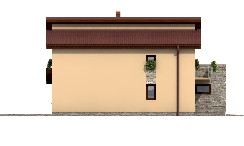 Pohľad 2. - Dom s garážou a pultovými strechami.