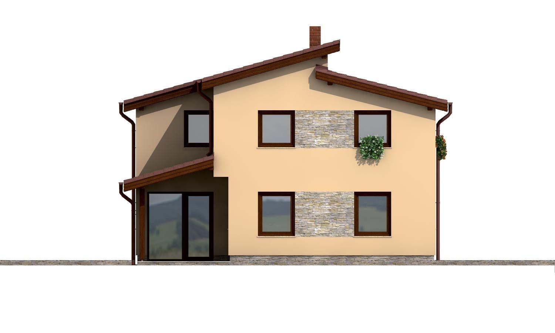 Pohľad 3. - Dom s garážou a pultovými strechami.