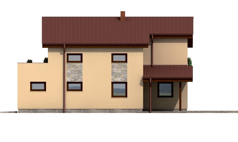 Pohľad 4. - Dom s garážou a pultovými strechami.