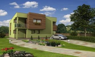 Moderný dom na úzky pozemok s plochou strechou.