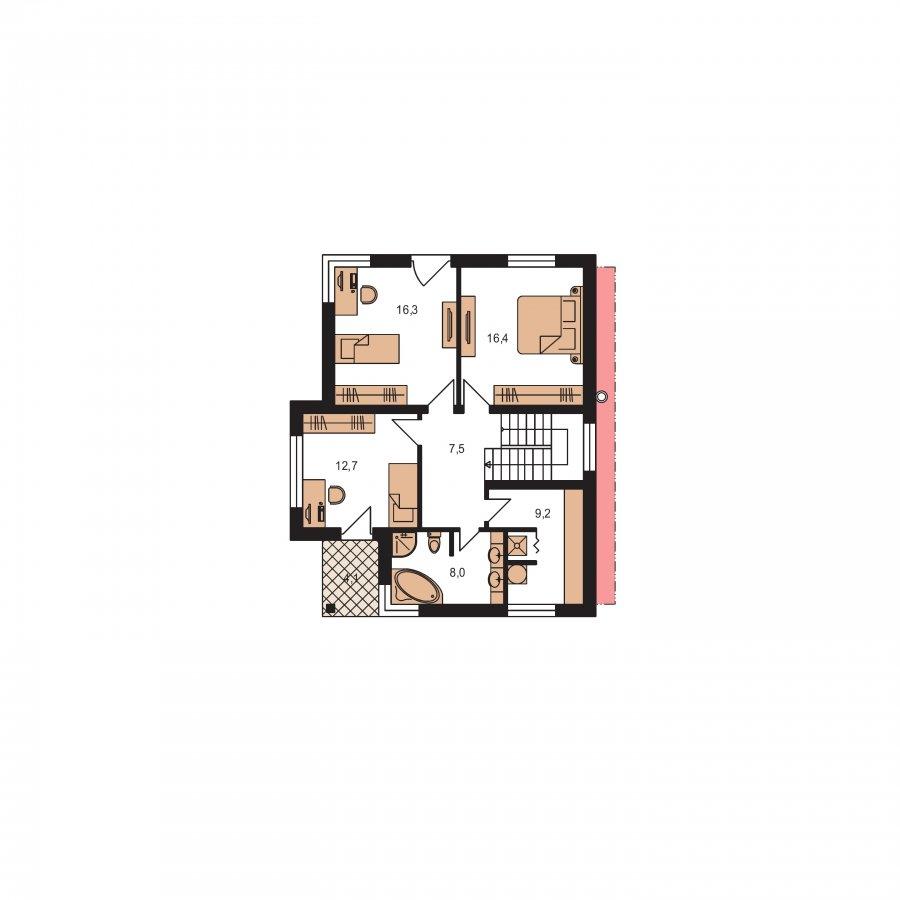 Pôdorys Poschodia - Moderný dom na úzky pozemok s plochou strechou