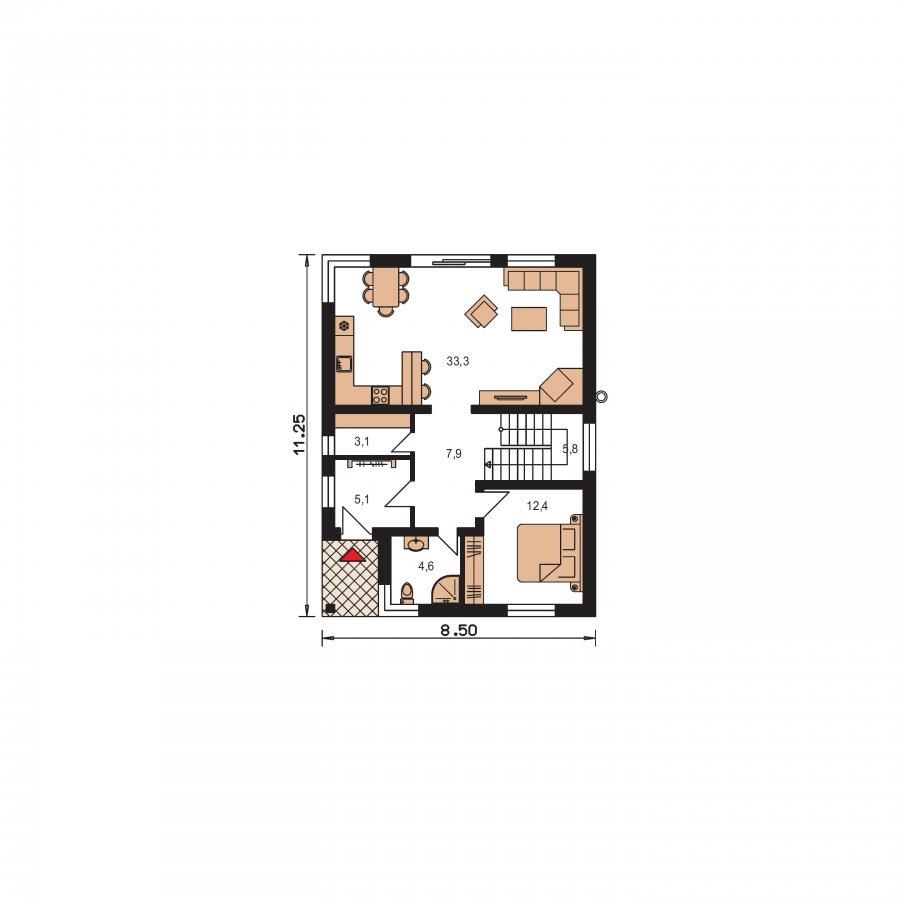 Pôdorys Prízemia - Moderný dom na úzky pozemok s plochou strechou