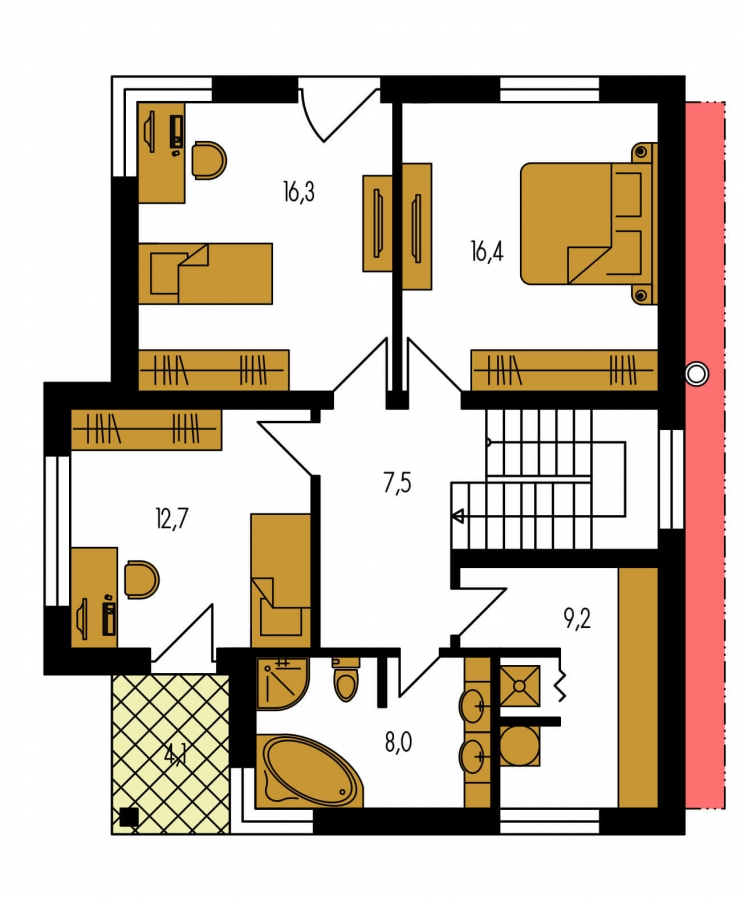 Pôdorys Poschodia - Moderný dom na úzky pozemok s plochou strechou.