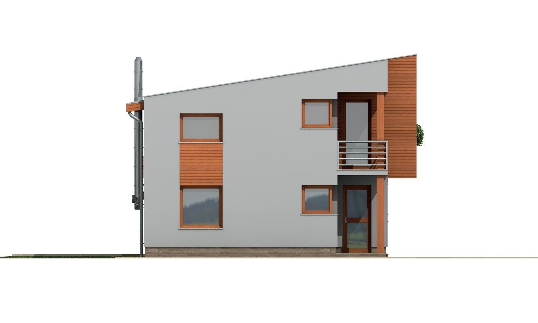Pohľad 1. - Moderný dom na úzky pozemok s plochou strechou