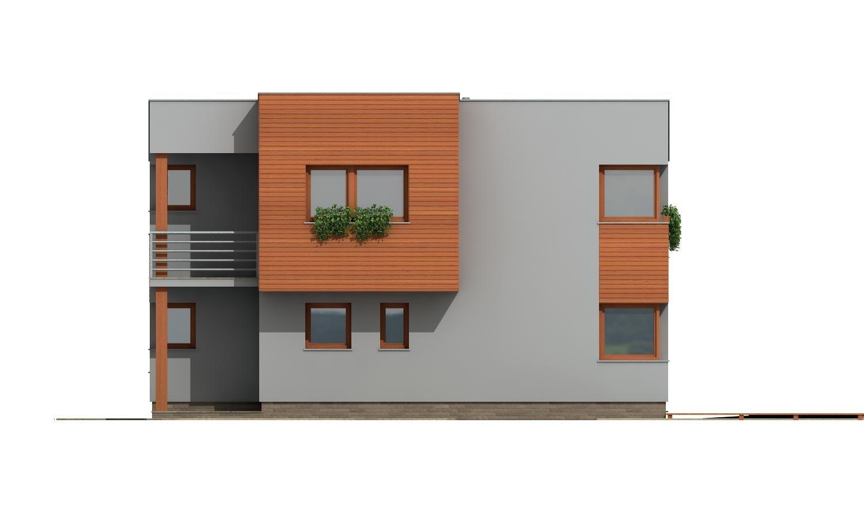 Pohľad 4. - Moderný dom na úzky pozemok s plochou strechou