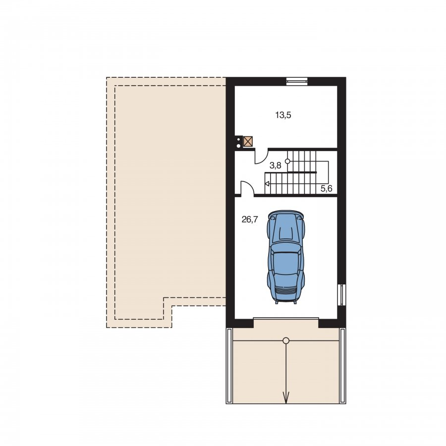 Pôdorys Suterénu - Prízemný domček s garážou v suteréne