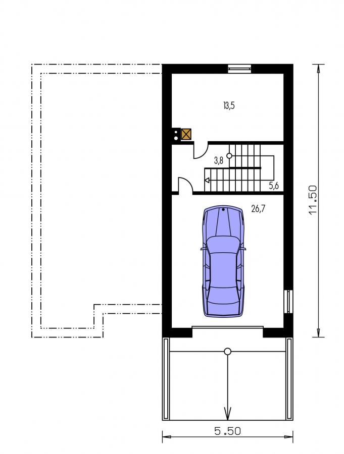 Pôdorys Poschodia - Prízemný domček s garážou v suteréne.