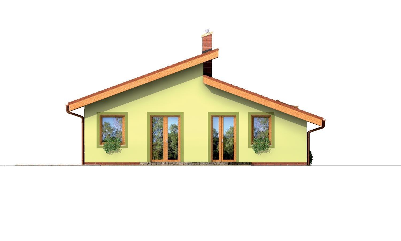 Pohľad 3. - Prízemný domček s garážou v suteréne