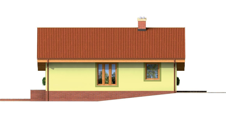 Pohľad 4. - Prízemný domček s garážou v suteréne